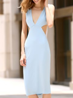 Convertible Open Back Plunging Neck Sleeveless Dress - Light Blue Xl