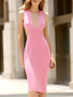 Convertible Open Back Plunging Neck Sleeveless Dress - Watermelon Red Xl