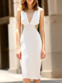 Convertible Open Back Plunging Neck Sleeveless Dress - White Xl