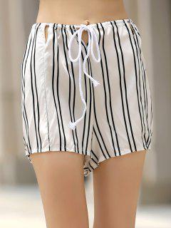 Loose Striped Cut Out High Waist Shorts - White Xl