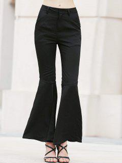 Solid Color Bell Bottom Pants - Black 2xl