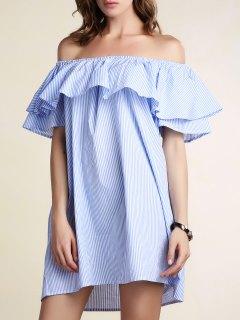 Rayas Con Cuello Redondo Vestido Suelto El Volante - Azul Claro M