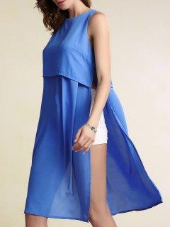 Débardeur En Mousseline De Soie Neck Solid Color Haute Slit Ronde - Bleu L
