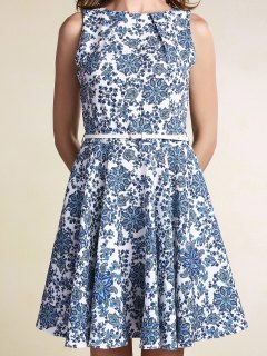 Belted Printed Jewel Neck Sleeveless Dress - Light Blue L