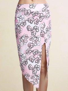 Printed Pencil Slit Skirt - Pink Xl