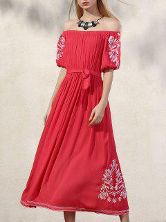 Embroidery Off The Shoulder Half Sleeve Dress - Orange Red M