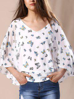 Elegante Blusa De La Impresión De La Mariposa - Leche Blanca L