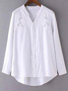 Shirt Broderie Blanche Col V à Manches Longues - Blanc S