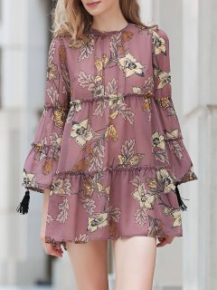 Printed Round Collar Long Sleeve Loose Dress - Dun L