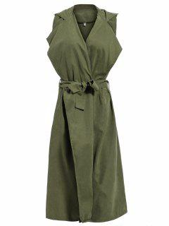 Lapel Belted Overlay Waistcoat - Army Green Xl