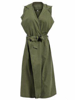 Solapa Con Cinturón De Superposición Chaleco - Verde Del Ejército Xl