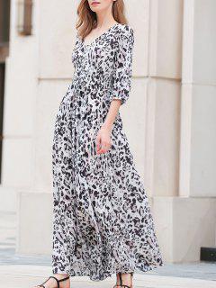 Leopard Print V-Neck 3/4 Sleeve Maxi Dress - Leopard 2xl