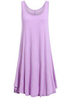 Irregular Hem Scoop Neck Sundress - Purple Xl