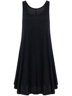 Irregular Hem Scoop Neck Sundress - Black Xl