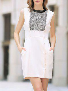 Lace Spliced Sleeveless Cut Out Dress - Shallow Pink M