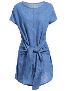 Robe En Jeans Manches Ailes De Chauve-souris Cou Rond Et Serré Couleur Unie - Bleu Foncé Xl