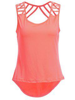 Pure Color Backless Scoop NeckTank Top - Pastèque Rouge Xl