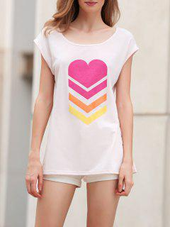 Heart Print Scoop Neck Short Sleeve T-Shirt - Shallow Pink M