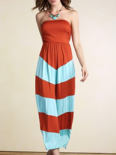 Stripe Bandeau Color Block Maxi Dress - Orange M
