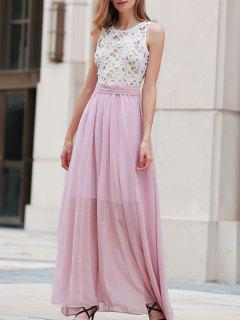 Lace Splice Round Neck Pink Prom Dress - Pink S