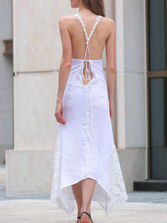 Asymmetric Lace Sleeveless Dress - White L