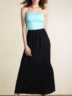 Hit Color Bandeau Maxi Dress - Light Blue S