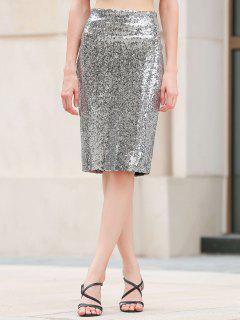 Pailletten Packet Buttock Bodycon Rock - Silber L