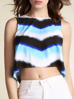 Striped Round Neck Cropped Tank Top - L