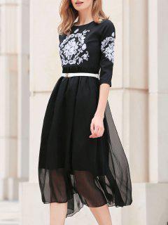 Embroidered Belted Silk Dress - Black L