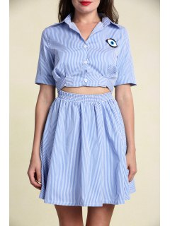 Casual Striped A Line Shirt Dress - Light Blue M