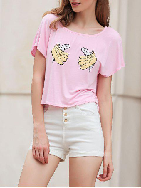 outfits Banana Print Short Sleeve Cropped T-Shirt - PINK L Mobile