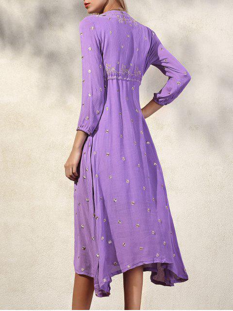 latest High Waisted V-Neck 3/4 Sleeve Embroidery Dress - PURPLE XL Mobile