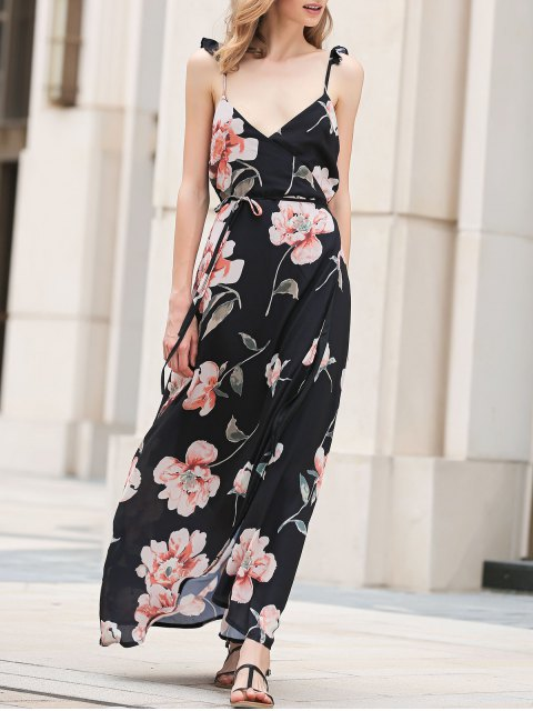 outfit Spaghetti Strap Low Cut Floral Maxi Dress - BLACK L Mobile