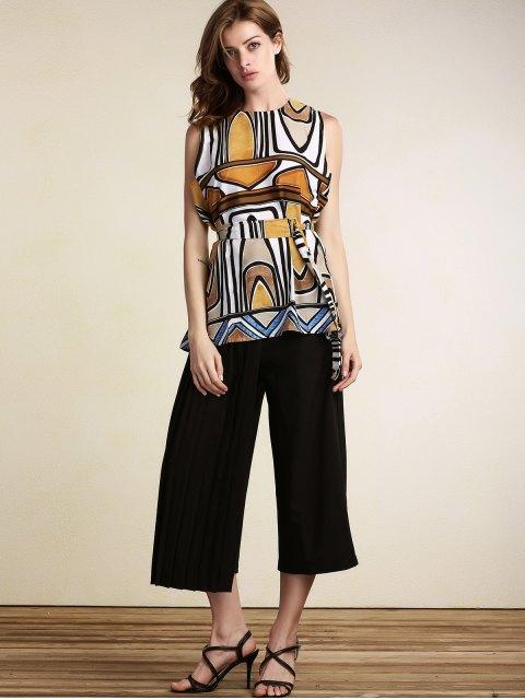 latest Geometric Pattern Round Neck Sleeveless Dress - COLORMIX M Mobile