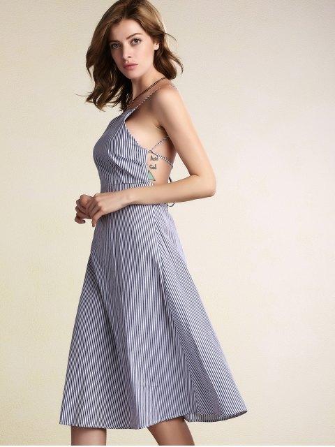 shops Striped Spaghetti Straps Backless Dress - LIGHT BLUE L Mobile
