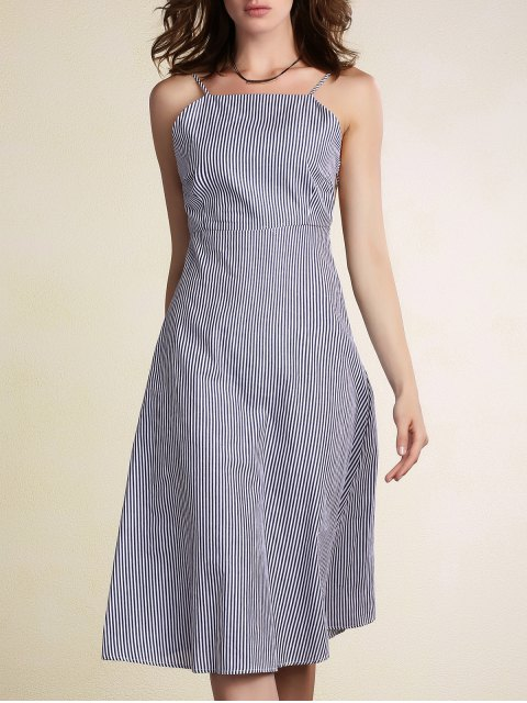 shop Striped Spaghetti Straps Backless Dress - LIGHT BLUE M Mobile