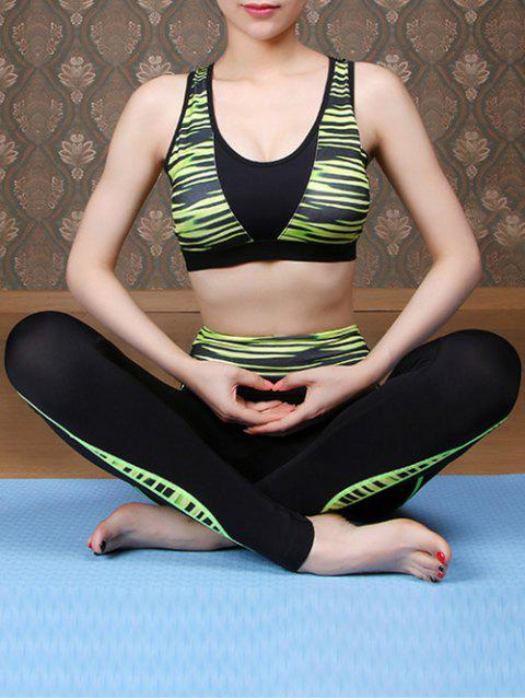 ladies Printed Sports Bra and Skinny Pants Yoga Suit - GREEN M Mobile