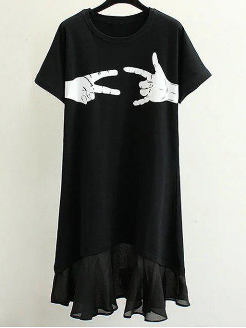 Handssors Imprimer col rond Robe manches courtes - Noir M Mobile