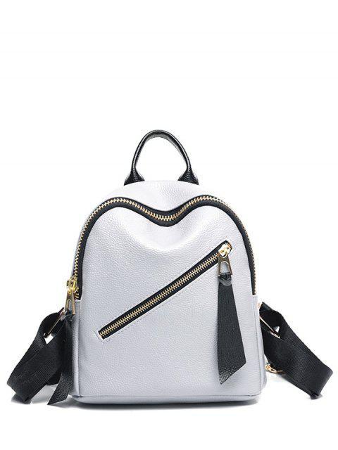 PU-Leder einfarbiger Rucksack mit Reißverschluss - Hellgrau  Mobile