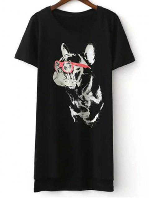 lady Cartoon Cat Print Short Sleeve T-Shirt - BLACK L Mobile