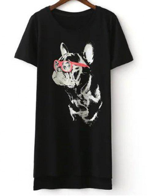 best Cartoon Cat Print Short Sleeve T-Shirt - BLACK M Mobile