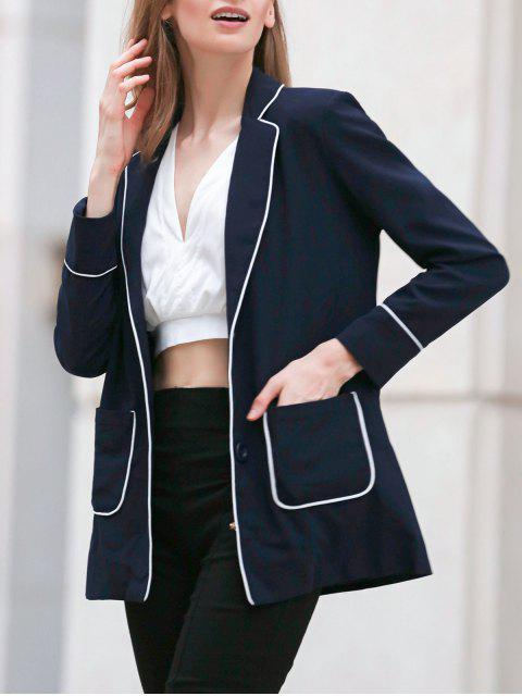 affordable Contrasting Piped Blazer - PURPLISH BLUE 2XL Mobile