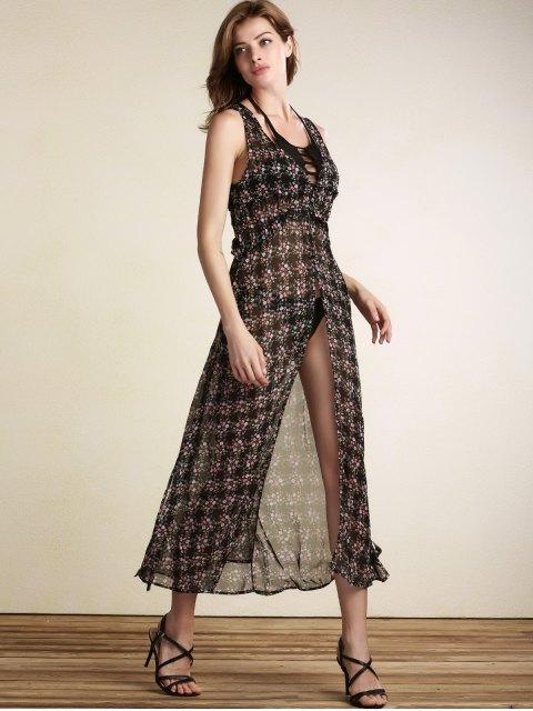 shops Tiny Flower Print V-Neck Sleeveless Chiffon Dress - BLACK L Mobile