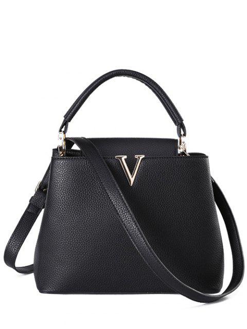 ladies Letter V Solid Color Tote Bag - BLACK  Mobile