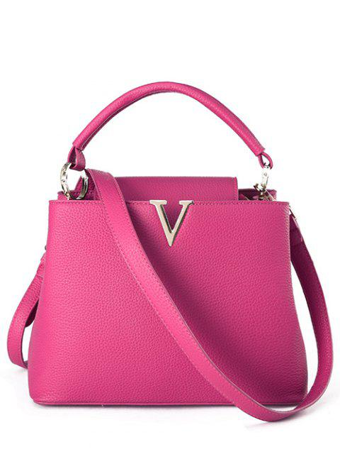 women's Letter V Solid Color Tote Bag - ROSE  Mobile