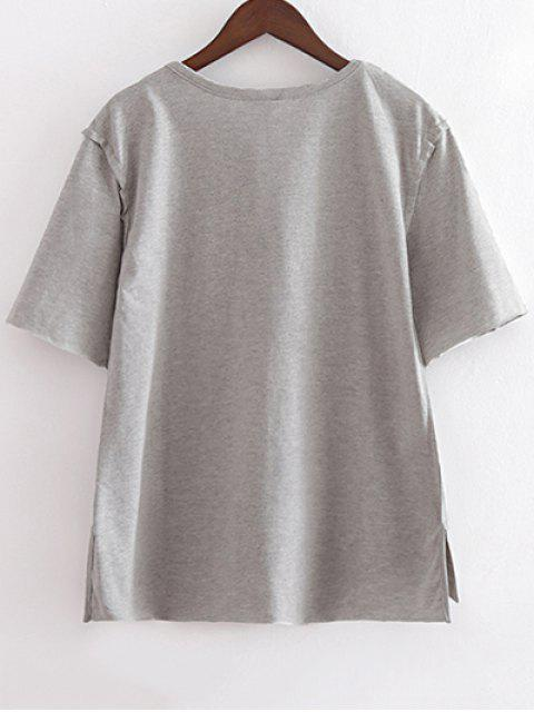 shops Character Round Neck Short Sleeve Loose Tee - LIGHT GRAY L Mobile