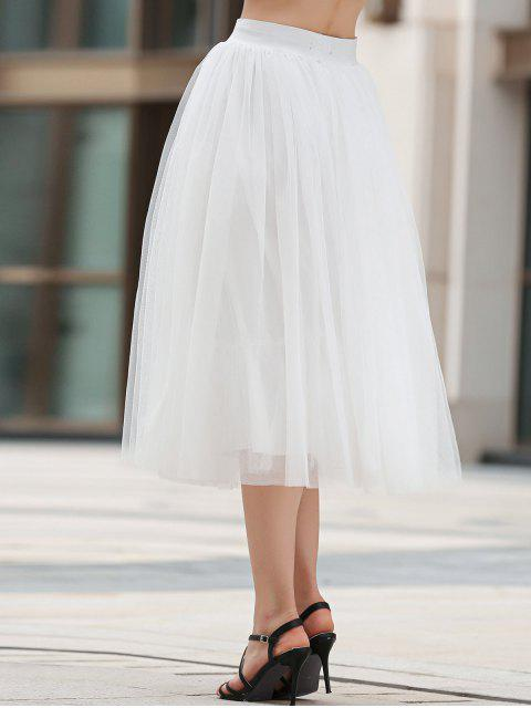 lady Mesh Solid Color A Line Skirt - WHITE M Mobile