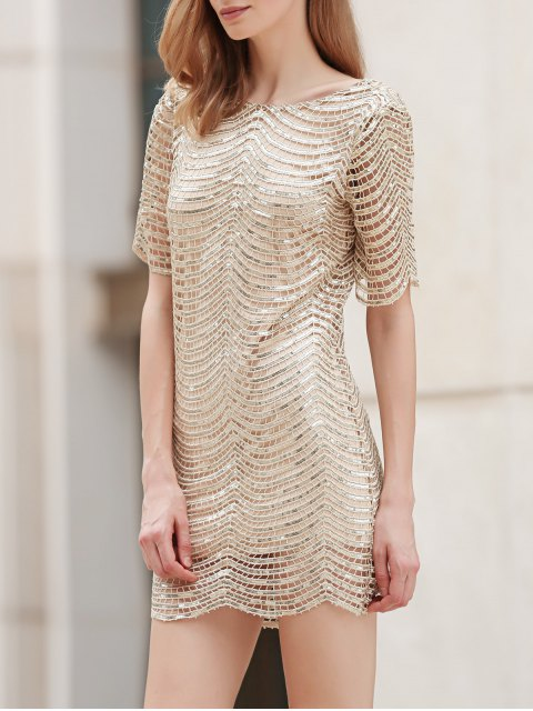 womens Sequins Scoop Neck Half Sleeve Dress - GOLDEN L Mobile