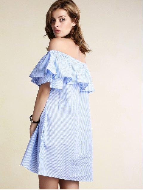 outfit Striped Off Shoulder Flouncing Loose Dress - LIGHT BLUE L Mobile