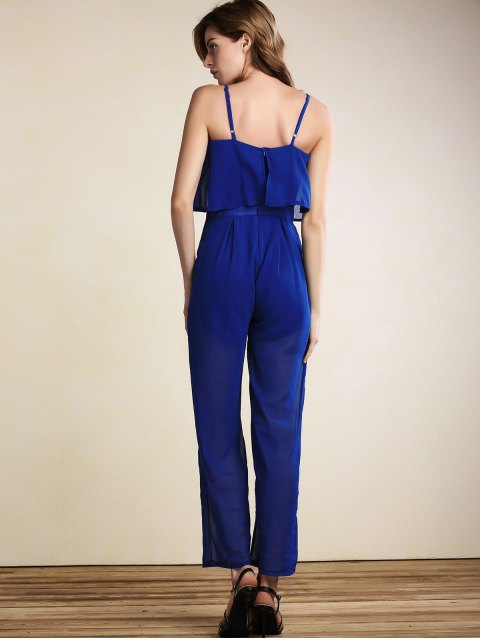 hot Overlayed Wide Leg Jumpsuit - BLUE XL Mobile